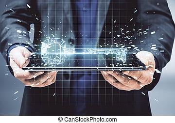 schlüssel, digital, edv, geschäftsmann, besitz, glühen, tablette, stromkreis