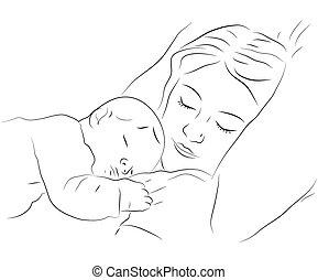 Schlafende Mutter und Baby Ikone.