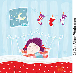 Schlafendes Kind in der Weihnachtsnacht