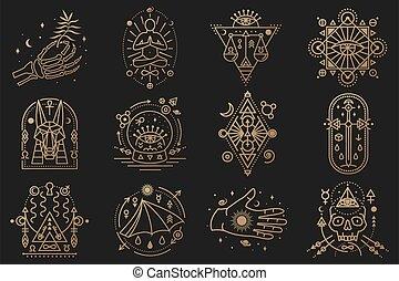 schlanke, alchimie, symbols., mystiker, hand, vector., heilig, badge., esoterisch, totenschädel, geometrie, menschliche , grobdarstellung, skelett, karten, tor, welt, tarot, design, linie, sternen, mond, ikone, noch ein, geometrisch, magisches