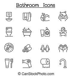 schlanke, satz, ikone, badezimmer, stil, linie