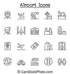 schlanke, satz, ikone, stil, linie, flughafen