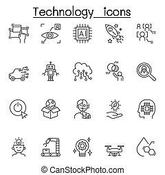 schlanke, satz, ikone, technologie, stil, linie
