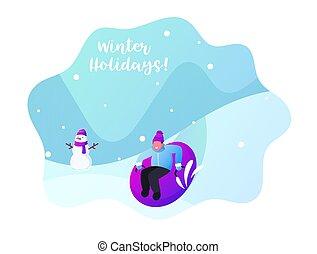 schlauch, sledging, schnee, oder, resort., aus, gestrickt, schieben, junge, aufblasbar, junger, hügel, hut, zeichen, kind, rohr, park