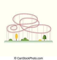 schleifen, achterbahn, belustigung, isolated., wohnung, vektor, abbildung, parkanlagen & naturparks