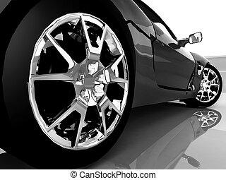 Schließen Sie den schwarzen Sportwagen.