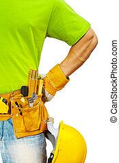 Schließen Sie die Sicht der Bauunternehmer mit Werkzeugen