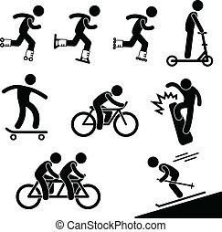 schlittschuhlaufen, reiten, aktivität