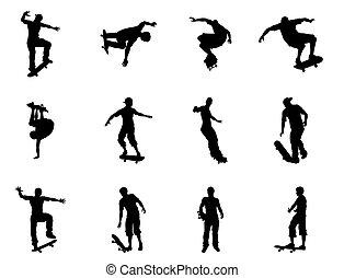 schlittschuhlaufen, silhouetten, skateboarder