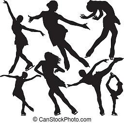 schlittschuhlaufen, silhouetten, vektor, figur