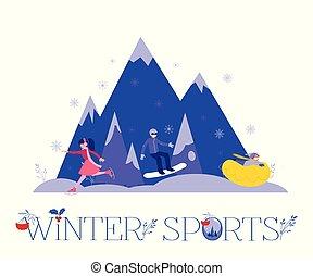 schlittschuhlaufen, tube., winter, leute, schnee, abbildung, sport, vektor, reiten, snowboarding