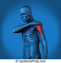 schmerz, h, schulter, blaues, hervorgehoben