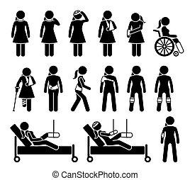 schmerz, medizin, accident., orthopädie, koerper, unterstuetzung, schuldig, produkte, verletzung