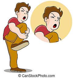 Schmerzhafte Beinverletzung