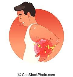 Schmerzhaftes Rückkonzept vektorischer Illustration mit menschlichem Torso. Überlastung oder Sportverletzung.