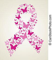 Schmetterling im Brustkrebs Bewusstseinsband