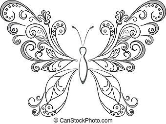 Schmetterlinge, schwarze Silhouette