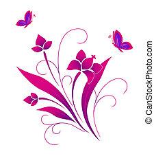Schmetterlinge und ein Blumenmuster