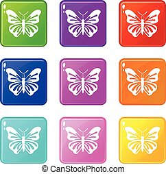 Schmetterlings-Icons, 9 Set.
