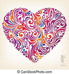 Schmuckfarbenes Herzmuster