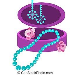 Schmuckkästchen mit Ohrring, Halskette und Blumen