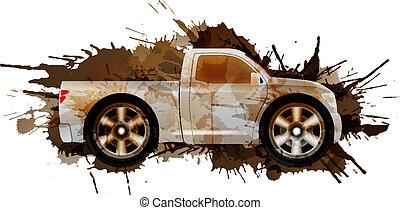 Schmutziger Pickup mit großen Rädern