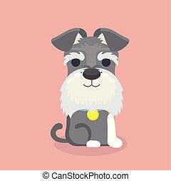 schnauzer, karikatur, hund, vektor, illustration.