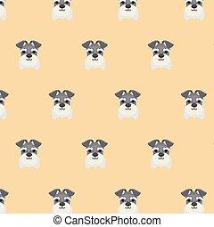 schnauzer, reizend, seamless, muster, dog., miniatur
