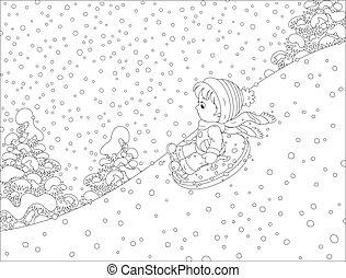 schnee, kind, rohr, aufblasbar