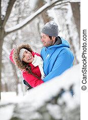 schnee, umarmen, romantisches
