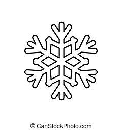 Schneeflocken-Ikone, umrissenen Stil.