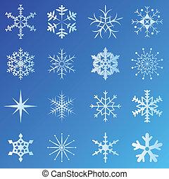 Schneeflocken mit blauem Hintergrund