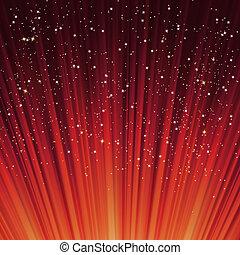 Schneeflocken und Sterne auf einem Pfad des roten Lichts. EPS 8