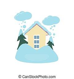 Schneeflucht im Haus, isoliert auf weißem Hintergrund