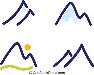 Schneegebirge oder Berge Ikonen, die auf weiß gestellt sind