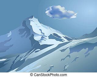 Schneeige Berge