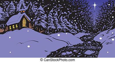 Schneeiger Winterabend mit Kirche.