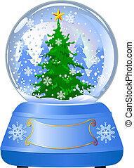 Schneekugel mit einem Weihnachtsbaum