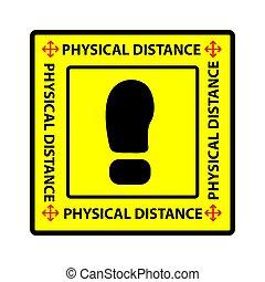 schneiden, vektor, oder, entfernung, antreibstechnik, einfache , warnung, physisch, aufkleber, sozial, covid-19, prävention, virus, pandemisch, quadrat