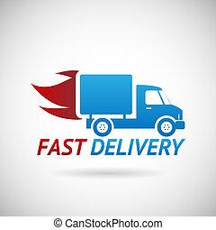 schnell, silhouette, symbol, schiffahrt, auslieferung, vektor, lastwagen, abbildung, schablone, design, ikone