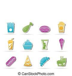 Schnelles Essen und Ikonen trinken