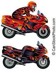 Schnelles Motorrad mit Person und brennendem Maler