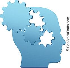 schnitt, ausrüstung, verstand, innovation, technologie, denken, heraus