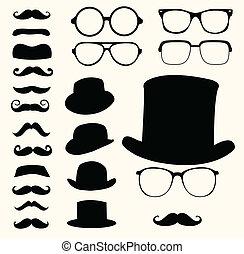 Schnurrbart hat eine Brille