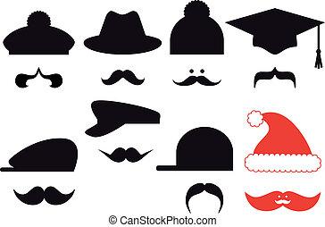 Schnurrbart mit Hüten, Vektor