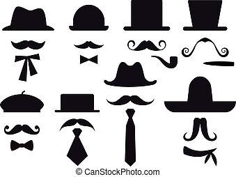 Schnurrbart und Hüte, Vektorset