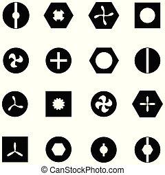 schraube, satz, ikone