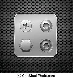 Schrauben und Nieten. Elemente für dein Design. Realistischer Vektor Illustration.