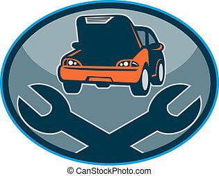 schraubenschlüssel, auto, reparatur, mechanisch, auto, zusammenbruch