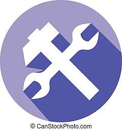Schraubenschlüssel und Hammer-Flach-Icon.